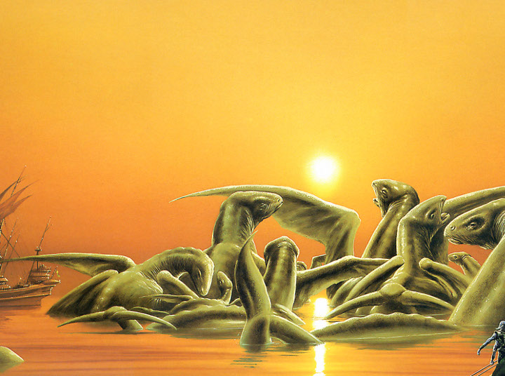 Sea-dragons (painting by Jim Burns)